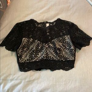Keepsake crop zip sheer lace top